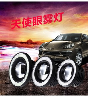 2PCS LED lamps DRL Daytime Running Light 3200lm 12V COB Projector Fog lights Lens Angel Eyes 汽车LED改装前雾灯总成 透镜天使眼LED日行灯通用
