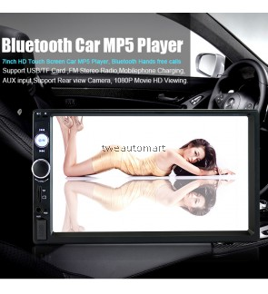 "2 din car radio 7"" HD Touch Screen Player MP5 SD/FM/MP4/USB/AUX/Bluetooth Car Audio For Rear View Camera Remote Control"