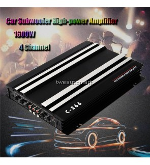 1600W Watt 4 CH 4 Channel 12V Car Audio Power Stereo Amplifier Amp Aluminum Alloy Black Car Amplifiers Car Subwoofer