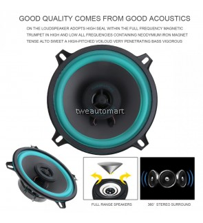 2pcs 5 Inch 60W Car HiFi Coaxial Speaker Vehicle Car Auto Audio Music Stereo Full Range Frequency Loundspeakers for Cars Vehicle